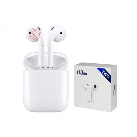 Слушалки Bluetooth i13 TWS - бели